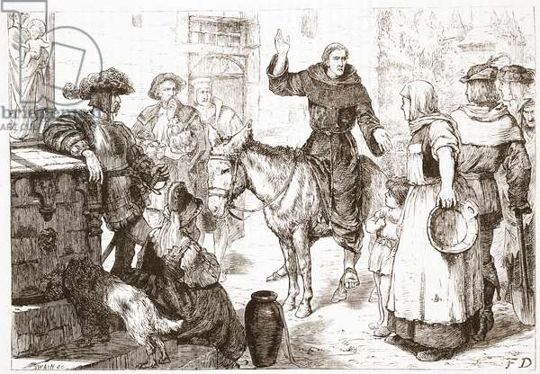 Francis Lambert Preaching, illustration from 'The History of Protestantism' by James Aitken Wylie (1808-1890), pub. 1878 (engraving)