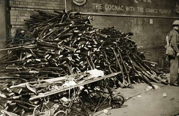 Weapons on the quay at Dover, following the Dunkirk evacuation, 1940 (b/w photo)