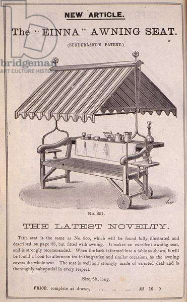 The 'Einna' Awning Seat, from the 'New Illustrated Catalogue of Garden Implements, Garden Furniture and Requisites', published by Wrinch & Sons, 1893 (engraving)