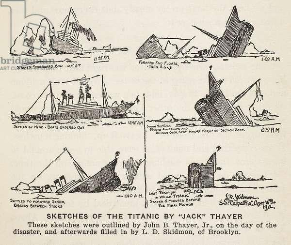 Sketches of Titanic sinking (litho) (sepia photo)