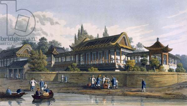 Summer Palace of the Emperor, opposite the City of Tien-Sing, 1817 (coloured engraving)