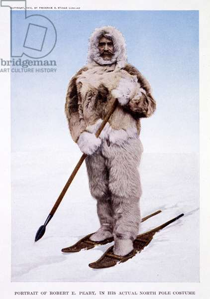 Robert E Peary wearing his costume from the North Pole; its discovery in 1909 under the Auspices of the Peary Arctic Club, 1910 (colour litho)