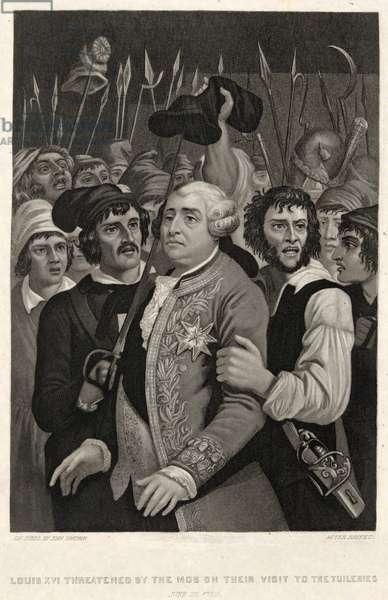 Louis XVI threatened by the Mob on their visit to the Tuileries, June 20 1792, engraved by John Sartain (engraving)