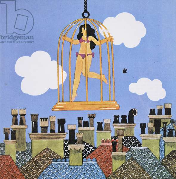 Girl in a Cage, from 'Carnaby Street' by Tom Salter, 1970 (colour litho)