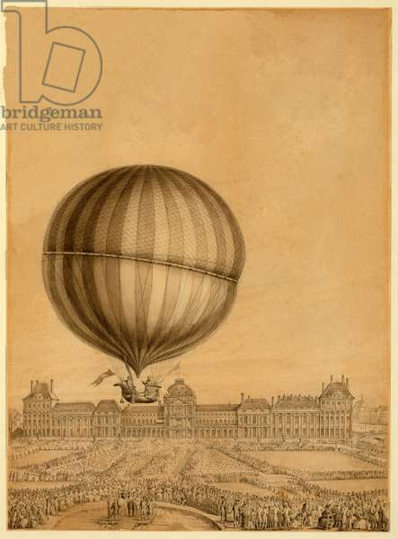 The First Manned Gas Balloon Flight, 1st December 1783, c.1783 (colour litho)