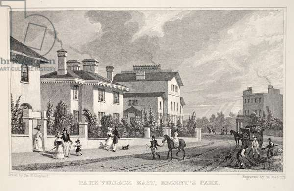 Park Village East, Regent's Park, from 'London and it's Environs in the Nineteenth Century' pub. Jones & Co., 1827-1829 (engraving)