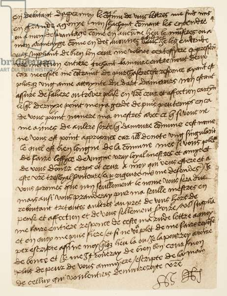 Facsimile of a letter from Henry VIII to Anne Boleyn dated 1527, pub. 1902 (collotype)