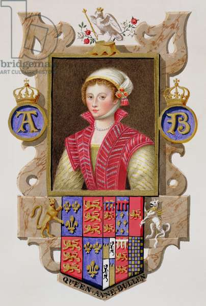 Portrait of Anne Boleyn (1507-36) 2nd Queen of Henry VIII from 'Memoirs of the Court of Queen Elizabeth', published in 1825 (w/c and gouache on paper)