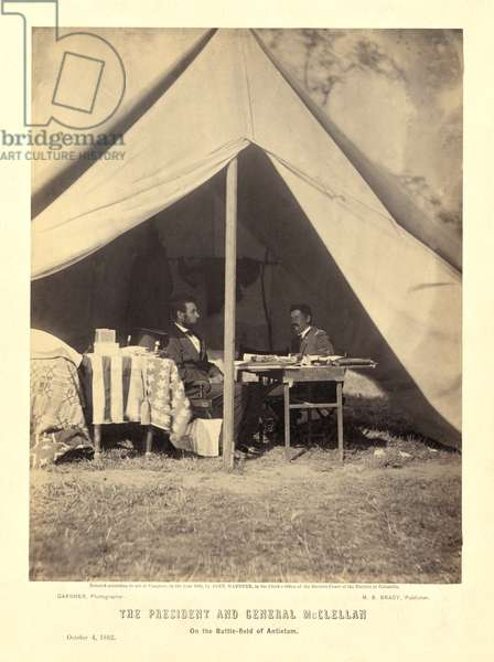 The President and General McClellan on the Battle-field of Antietam, pub.1862 (photo)