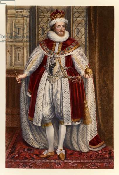 King James I of England and VI of Scotland, from 'James I and VI', engraved and printed by Manzi Joyant & Co. Paris, 1904 (colour engraving)