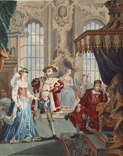 Henry VIII and Anne Boleyn, illustration from 'Hogarth Restored: The Whole Works of the celebrated William Hogarth, re-engraved by Thomas Cook', pub. 1812 (hand-coloured engraving)
