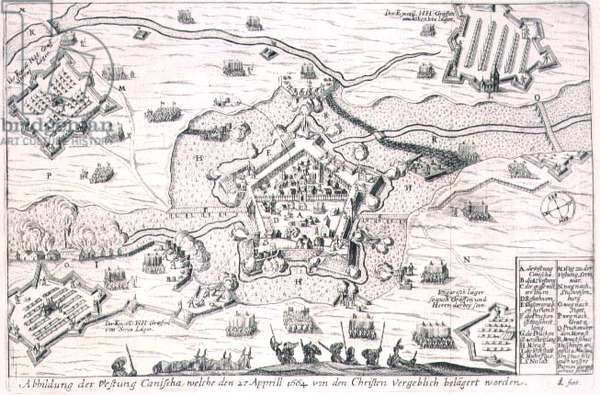 The Fortress of Canischa besieged in vain by the Christians in 1664, illustration from a book on the Ottoman campaigns in Europe, engraved by Paul Furst (c.1605-66) (engraving)