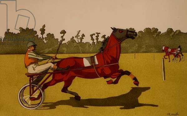 Trotting Pony Pulling a Racing Cart (poshoir print)