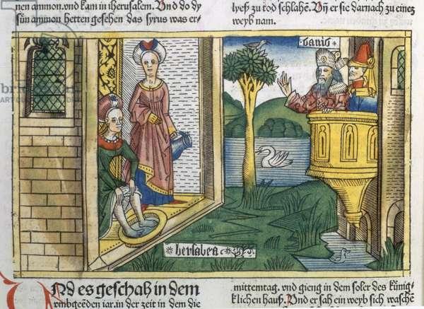 2 Samuel 11 1-5 David sees Bathsheba bathing, from the 'Nuremberg Bible (Biblia Sacra Germanaica)' (coloured woodcut)