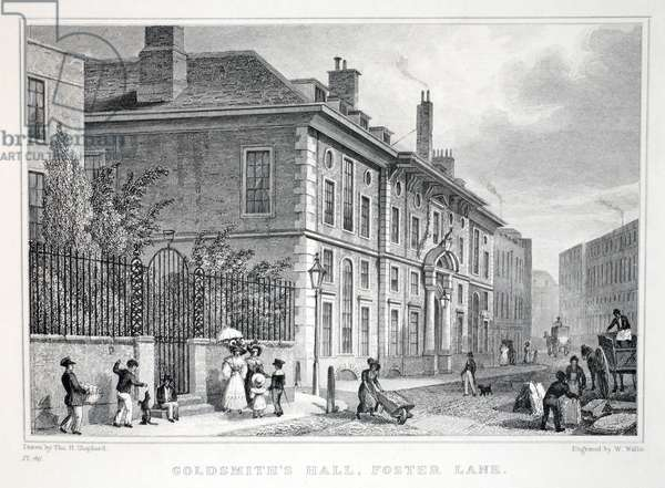 Goldsmith's Hall, Foster Lane, from 'London and it's Environs in the Nineteenth Century' pub. Jones & Co., 1827-1829 (engraving)