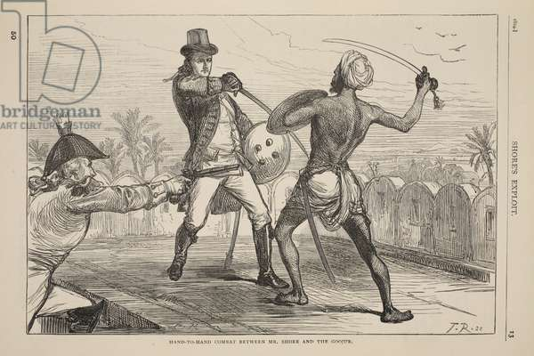 Hand-to-hand combat between Mr. Shore and the Goojur, illustration from 'Cassell's Illustrated History of England' (engraving)