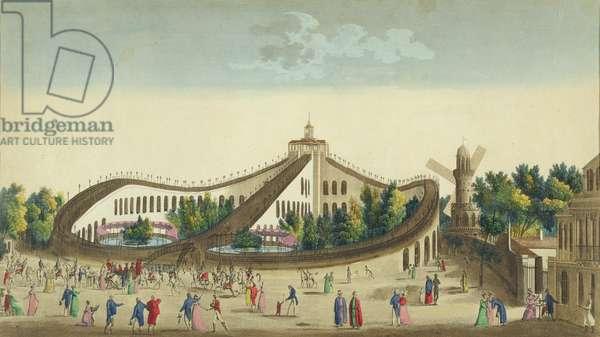 Promenades Aeriennes, Jardin Baujon, c.1817 (colour litho)