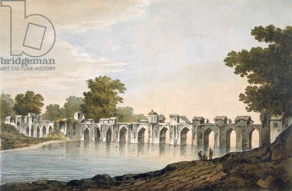 Pl. 34 A View of the Bridge at Ilionpoor over the River Goomty from 'Select Views in India', pub. 1785-88 (coloured etching with aquatint)