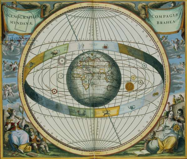 Map Showing Tycho Brahe's System of Planetary Orbits Around the Earth, from 'The Celestial Atlas, or The Harmony of the Universe' (Atlas coelestis seu harmonia macrocosmica) pub. by Joannes Janssonius, 1660-61 (hand coloured engraving)