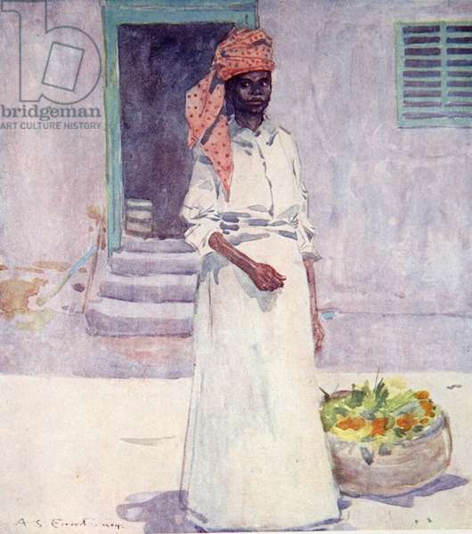 A Market Woman, Jamaica, from a portfolio of privately printed watercolours of 'The West Indies' (colour litho)