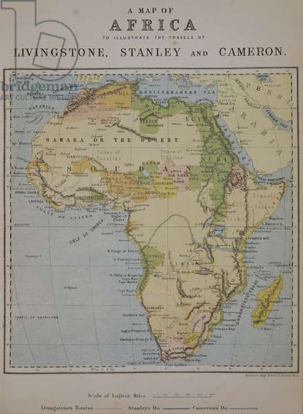 A Map of Africa to Illustrate the Travels of David Livingstone (1813-73), Henry Morton Stanley (1841-1904) and Verney Lovett Cameron (1844-94) (colour litho)