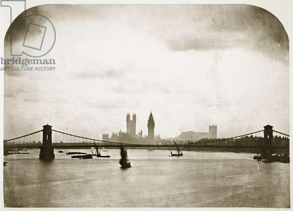 Houses of Parliament under construction, London, c.1858 (b/w photo)