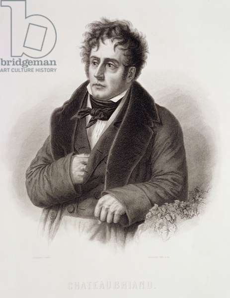 Francois Rene, Vicomte de Chateaubriand (1768-1848) engraved by Rene Gaillard (c.1719-90) (engraving)