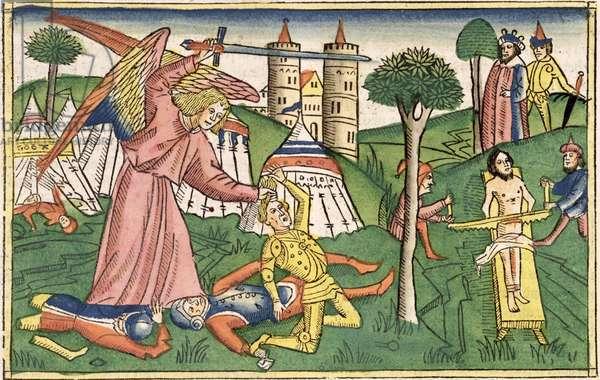 2 Kings 19 35-37 God's vengance on Assyria, from the 'Nuremberg Bible (Biblia Sacra Germanaica)' (coloured woodcut)