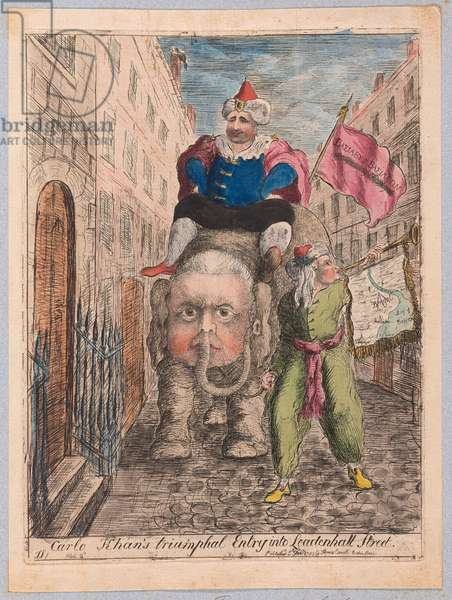 Carlo Khan's Triumphal Entry into Leadenhall Street, pub. 1783 (hand coloured engraving)