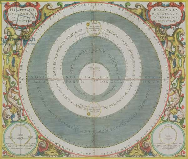 Ptolemaic System, from 'The Celestial Atlas, or The Harmony of the Universe' (Atlas coelestis seu harmonia macrocosmica) pub. by Joannes Janssonius, Amsterdam, 1660-61 (hand coloured engraving)