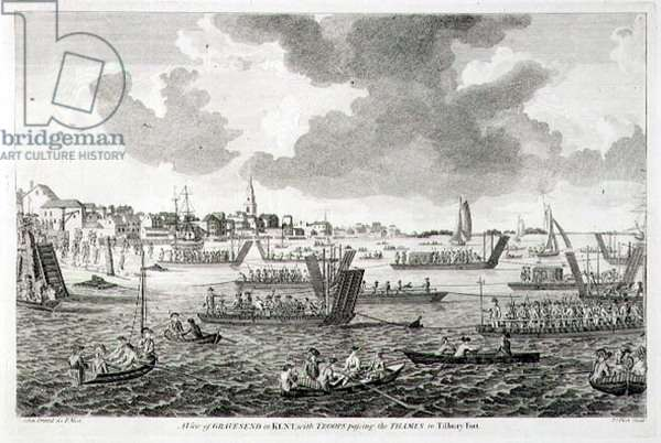 A View of Gravesend in Kent, with Troops Passing the Thames to Tilbury Fort (engraving)