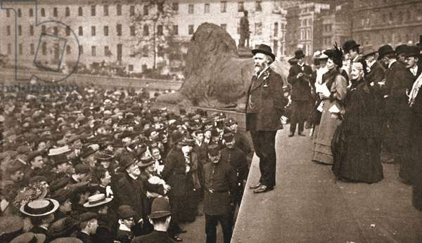 Mr Keir Hardie addressing the First Women's Suffrage Demonstration ever held in Trafalgar Square, 19th May 1906 (sepia photo)