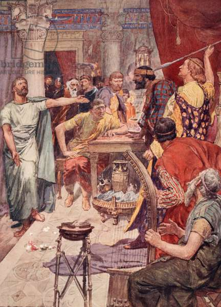 The quarrel between Alexander and Cleitus, illustration from 'Plutarch's Lives for Boys and Girls', retold by W.H. Weston, London c.1910 (colour litho)