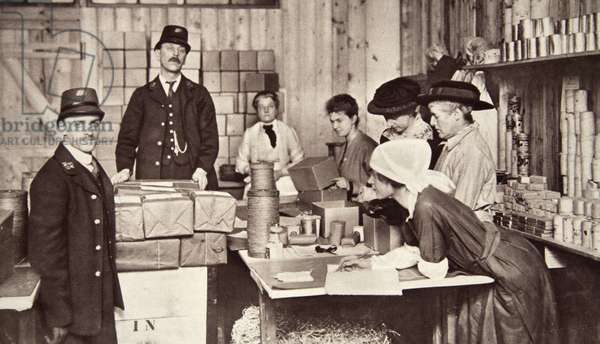 An excellent war charity: sending gifts to our unfortunate compatriots in the enemy's hands, from 'The Illustrated War News' (b/w photo)