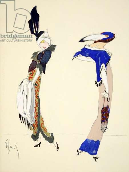 Design for day dress, 1912, plate 5, illustration from 'Robes et Femmes', pub. Dorbon-Ainé, Paris, 1913 (pochoir print)