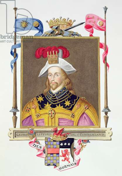 Portrait of George Clifford (1558-1605) 3rd Earl of Cumberland from 'Memoirs of the Court of Queen Elizabeth' after a miniature by Nicholas Hilliard (1547-1619), published in 1825 (w/c and gouache on paper)