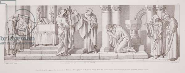 Harold, about to oppose the invasion of William, offers prayer at Waltham Abbey, when the sacred image miraculously inclines forward from the cross, from 'The Story of the Norman Conquest', engraved by L. Gruner, 1866 (litho)