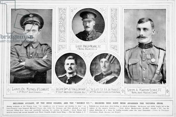 Soldiers who have been awarded the Victoria Cross, from 'The Illustrated War News', 1915 (b/w photo)