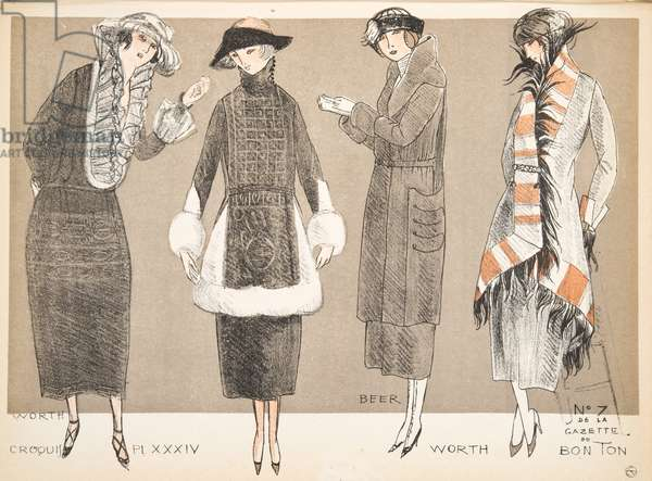 Designs by Worth and Beer, from a Collection of Fashion Plates, 1920 (pochoir print)