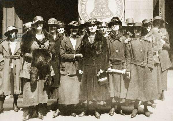 Female telephone operators on strike in Boston, 1919 (sepia photo)