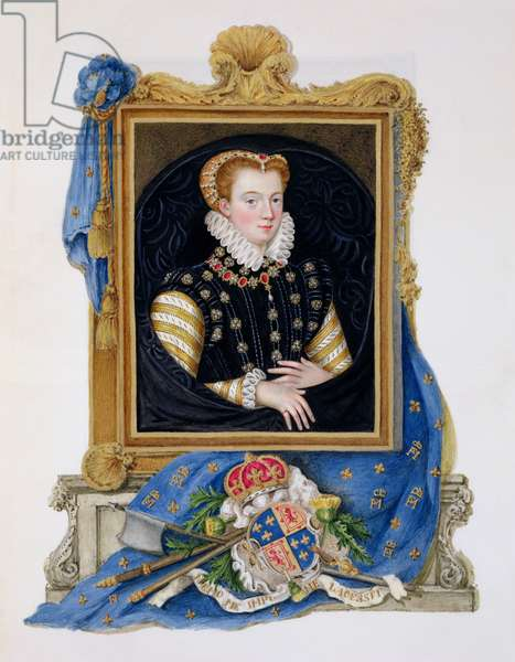 Portrait of Mary Queen of Scots (1542-87) from 'Memoirs of the Court of Queen Elizabeth', published in 1825 (w/c and gouache on paper)