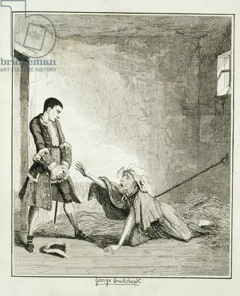 Jack visits his mother in Bethlehem Hospital, London, illustration from 'Jack Sheppard: A Romance' by William Harrison Ainsworth, published 1839 (etching)