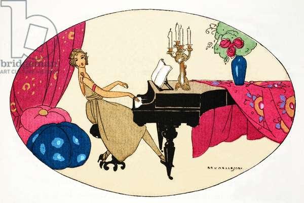 Playing the Piano (pochoir print)