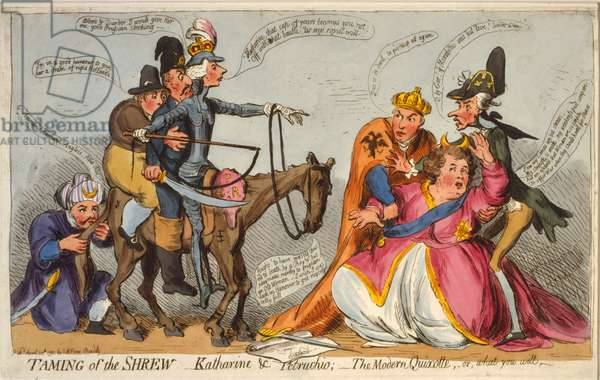 Taming of the Shrew, Katharine and Petruchio, The Modern Quixotte or what you will, 1791 (hand-coloured etching)