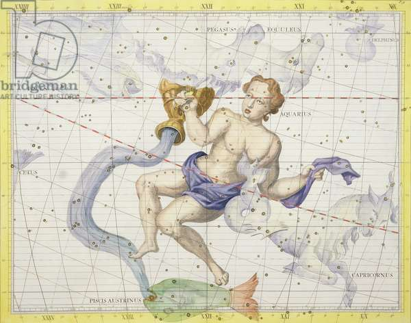 Constellation of Aquarius, plate 9 from 'Atlas Coelestis', by John Flamsteed (1646-1710), published in 1729 (hand coloured engraving)