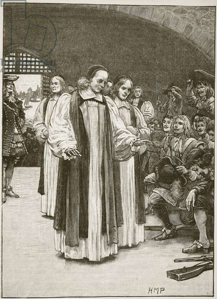 The Seven Bishops entering the Tower, illustration from 'Cassell's Illustrated History of England' (engraving) (sepia photo)