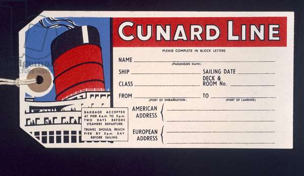 Luggage ticket for the 'Cunard Line' (colour litho)