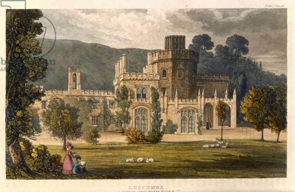 Luscombe Castle, Devon (colour litho)