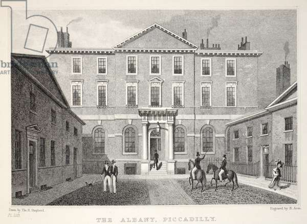 The Albany, Piccadilly, from 'London and it's Environs in the Nineteenth Century' pub. Jones & Co., 1827-1829 (engraving)