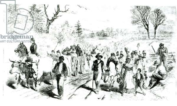 Slaves fleeing to the north following Lincoln's Emancipation Proclamation, 1863 (litho) (b/w photo)